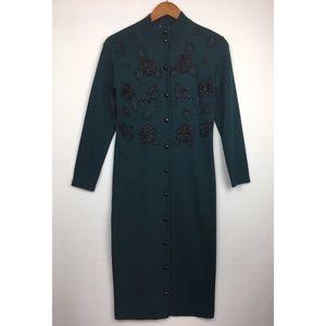 Vintage Midi Sweater Button-Up Dress